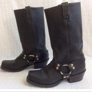 Vintage HH biker black leather, harness boots!